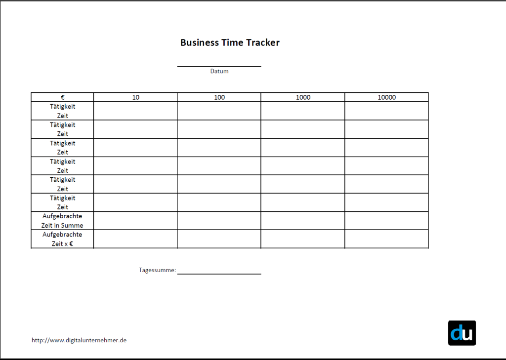 Screenshot Business Time Tracker