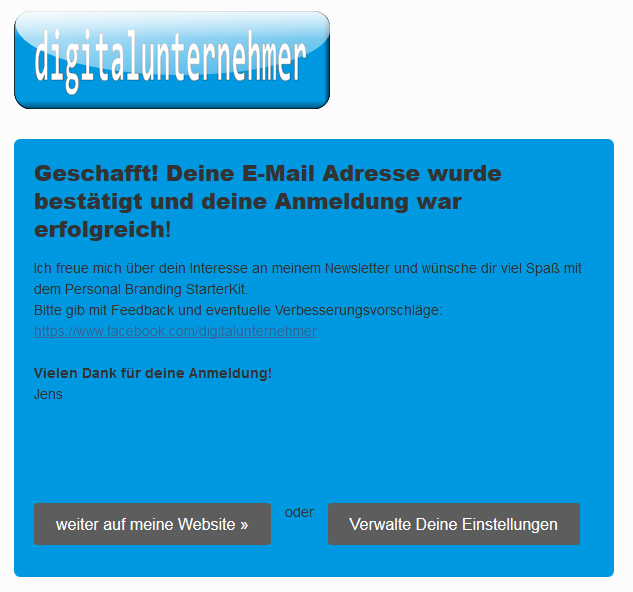 E-Mail-Marketing Opt-In erfolgreich